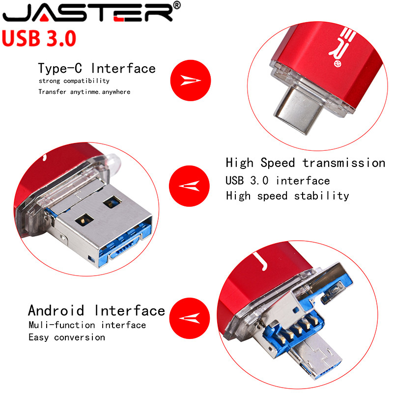 JASTER  New 3 IN 1 OTG (Android&USB & Type_C) USB 3.0  Flash Drive Metal Custom Pen Drive 64GB 32GB 16GB 8GB 4GB Wedding Gifts
