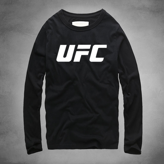 531e7d707782 UFC Ultimate Fighting Championship Printed T-shirt Full Long Sleeve Clothing  Pure Cotton 100% Muay Thai Fight Strong Fitness Men