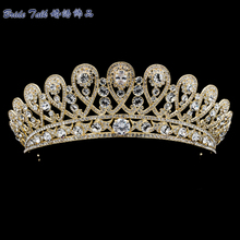 Gold Plated Women Tiara Royal Crown Bridal Wedding Hair Jewelry with Austrian Crystals Rhinestone SHA8627-1