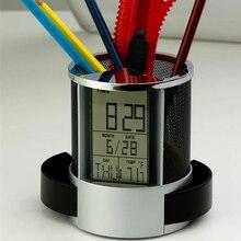 Ручка карандаш держатель цифровой будильник сетка календарь, таймер температуры lcd дисплей настольные часы с 2 автоматическими ящиками