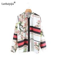 Lanbaiyijia 2018 в европейском и американском стиле Новые Для женщин блузка с длинным рукавом pring Цветы рубашка Для женщин однобортный фасон рубашк