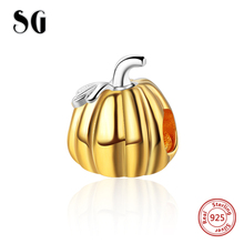 SG New 925 sterling Silver pumpkin Gold Beads Charms Fit Authentic pandora Bracelets DIY fashion Jewelry making for women Gifts