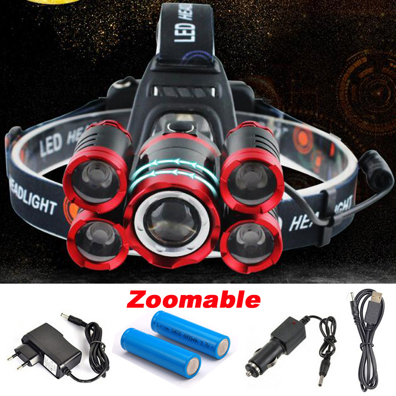 CREE 5*LED XML T6 Headlight 20000 Lumens 4mode Zoomable Headlamp Rechargeable Head Lamp flashlight+2*18650 Battery+AC/DC Charger rechargeable cree xml t6 2000lumens zoom head lamp torch led headlamp 18650 battery headlight flashlight lantern night fishing