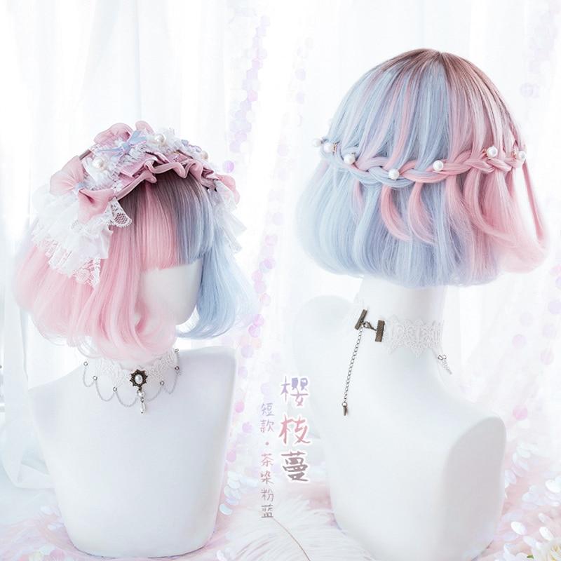 Summer Kawaii Blue Pink Ombre Short Curly BOBO Lolita Cute Harajuku Sweet Synthetic Hair Cosplay Costume Wigs + Wig Cap