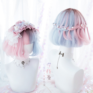 Image 1 - Summer Kawaii Blue Pink Ombre Short Curly BOBO Lolita Cute Harajuku Sweet Synthetic Hair Cosplay Costume Wigs + Wig Cap