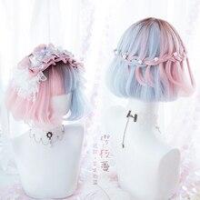 Zomer Kawaii Blauw Roze Ombre Korte Krullend BOBO Lolita Leuke Harajuku Zoete Synthetisch Haar Cosplay Kostuum Pruiken + Pruik Cap