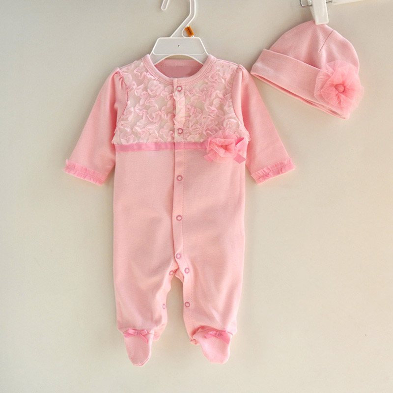 Newborn-Cute-Floral-Cotton-Baby-Girl-Rompers-Infant-Lace-Bow-Knot-RomperHat-Children-Clothes-Sets-Long-Sleeve-Toddler-Jumpsuit-2