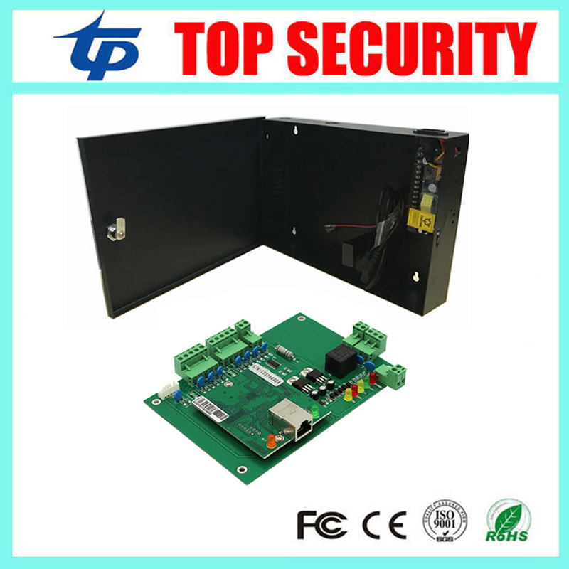 Free shipping L01 one door access control panel TCP/IP door access control board with 12V5A power supply box battery function biometric fingerprint access controller tcp ip fingerprint door access control reader