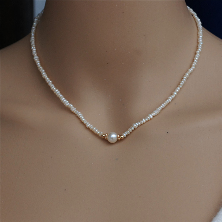 Natural Mini Size White Freshwater Cultured Pearl Necklace Choker Women Jewelry