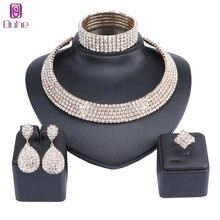 Женское классическое колье со стразами ожерелье серьги браслет