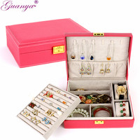 Guanya 2 Layers Large PU Leather Jewelry Box Velvet Display Organizer Storage Box Necklace Rings Earings