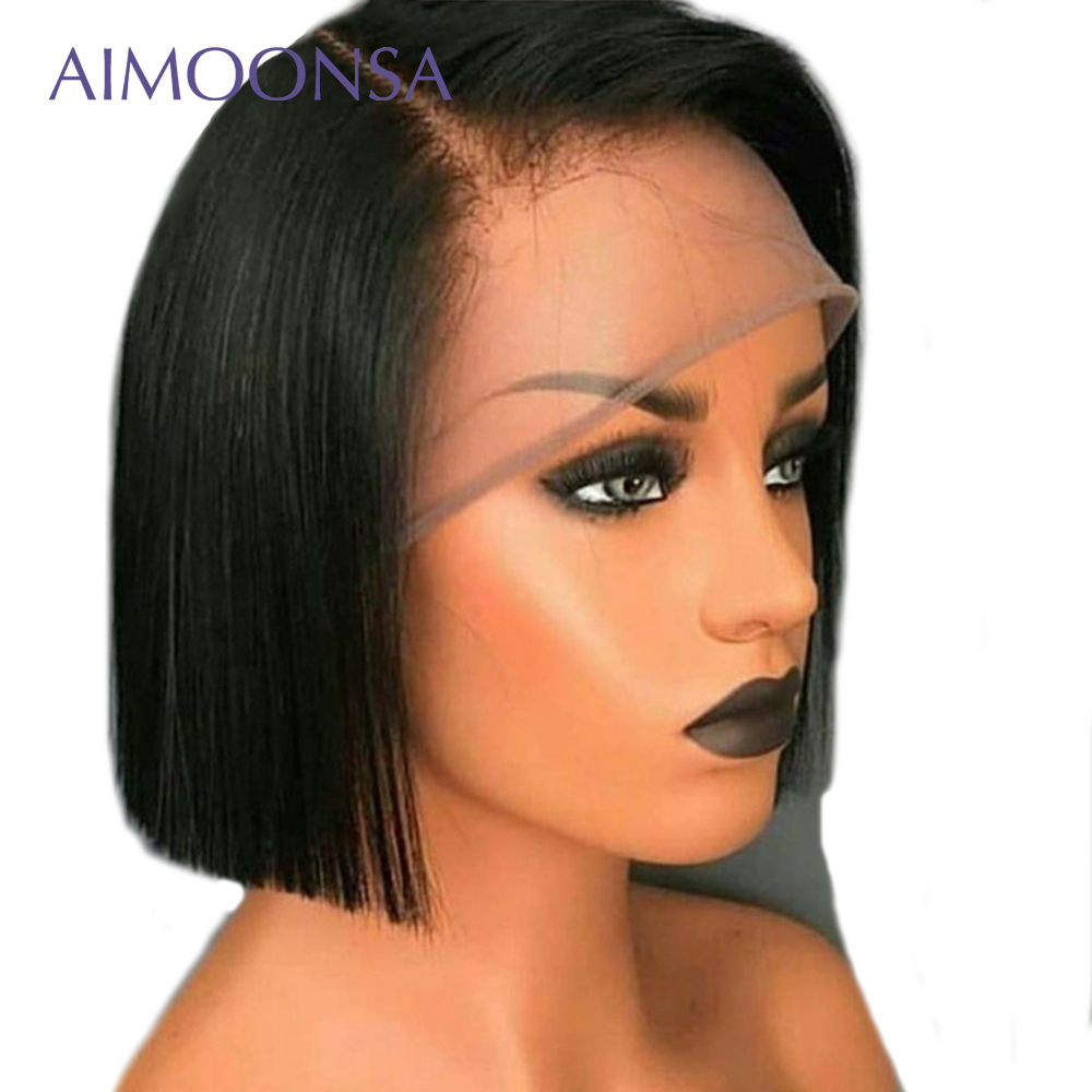 Undetectable Lace Wig Transparent Lace Wigs Straight Human Hair Wigs Invisible Knots 13*6 Deep Part Wig Peruvian Aimoonsa
