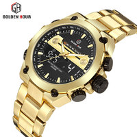 Top Brand Luxury Digital Dual Display Watches Men Golden Stainless Steel Calendar Waterproof Military LED Electronic Wristwatch