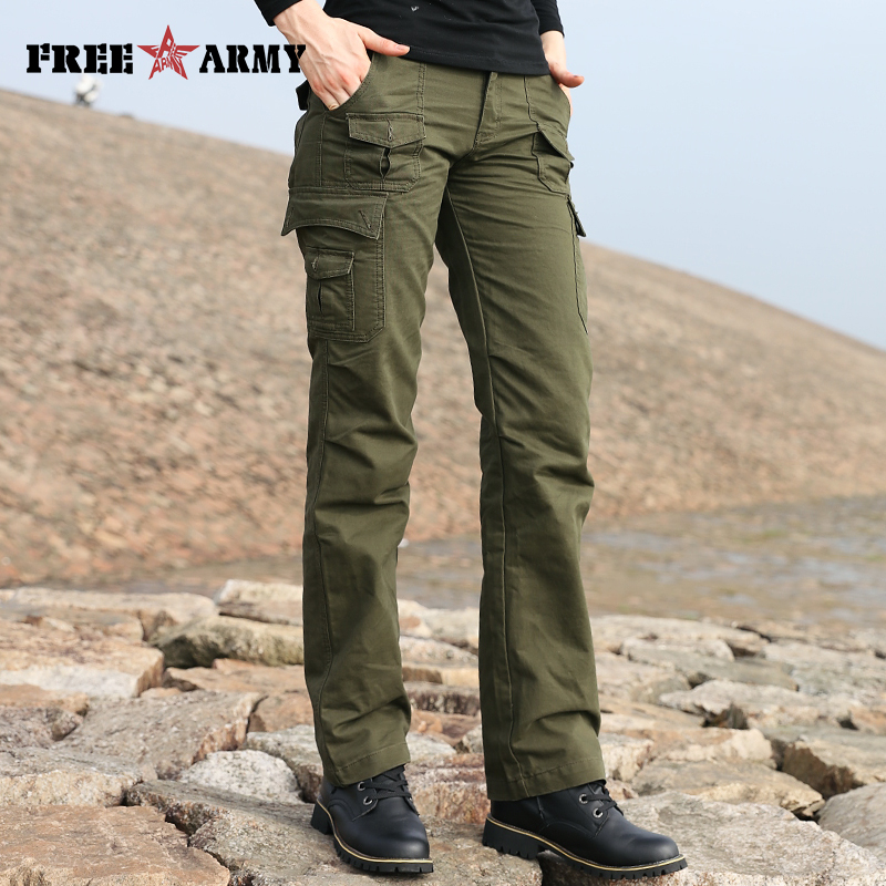 GK-919 กางเกงกระเป๋ากางเกงกางเกงกางเกงผู้หญิง Flare Army