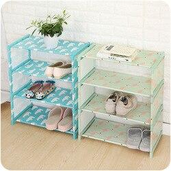 DIY Shoe Rack Storage Shelf 3/4 Layers Oxford Cloth Iron Pipe Hallway Cabinet Door Organizer Holder Flamingo Polar Bear Design