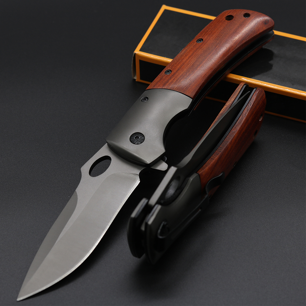 High quality tactical hunting knife stainless steel Blade wooden handle rescue folding Knife outdoor tool