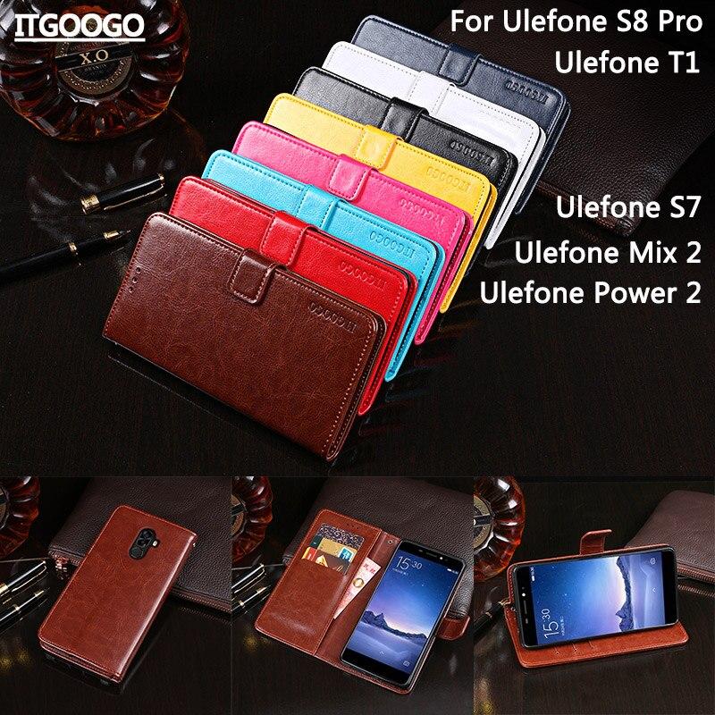 Itgoogo Für Ulefone S8 Pro Fall Abdeckung Hight Qualität Flip Ledertasche Für Ulefone S7/T1/Mix 2/Power 2 Abdeckung handytasche