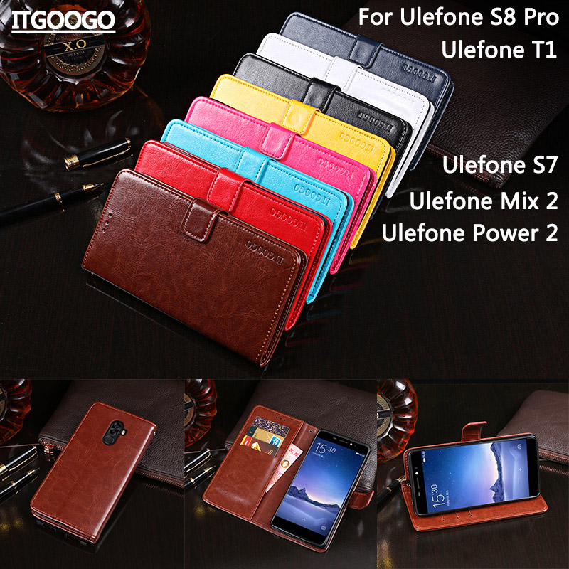 Itgoogo For Ulefone S8 Pro Case Cover Hight Quality Flip Leather Case For Ulefone S7/T1/Mix 2/Power 2 Cover Phone bag