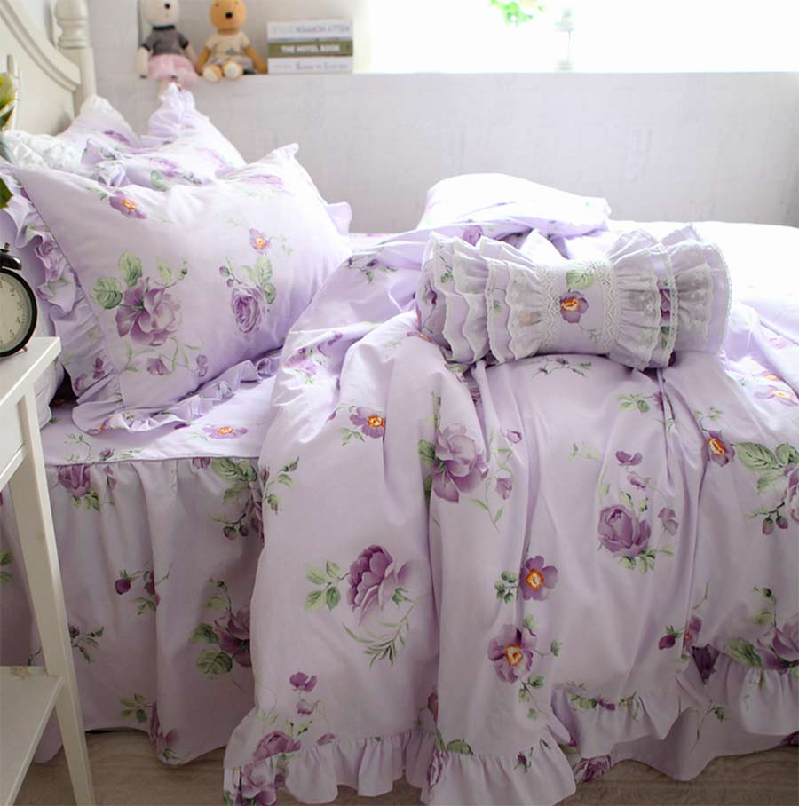Rustic purple flower bedding set,sand cotton full queen king country violet floral home textile bedspread pillowcase quilt cover
