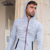 Taddlee Marka Uzun Kollu Hoodies erkek Streç Rahat Temel Aktif Giyim Tee Gömlek ile Yumuşak Fermuar Slim Fit