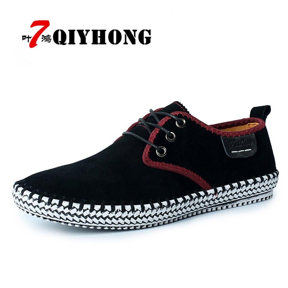 Qiyhong ماركة 2017 جديد الصيف لوحة الأحذية الناعمة جلد طبيعي الشقق متعطل الرجال الأحذية أزياء الرجال عارضة الأحذية الجلدية الفاخرة