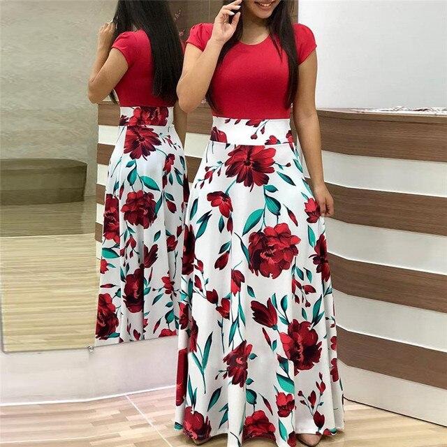 cbbefc8c5f6 2019 Summer Dresses Women Floral Print Boho Beach Long Maxi Dress Short Sleeve  Casual Patchwork Vinatge Party Dress Robe Femme