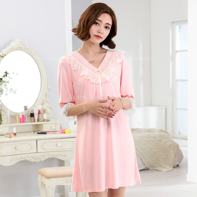 Plus XL  Sleepshirts Lovely Girl Dress Sleep Nightgown Women Modal Sleepshirts Lace Sleepwear Lounge Women's Dress Nightgowns