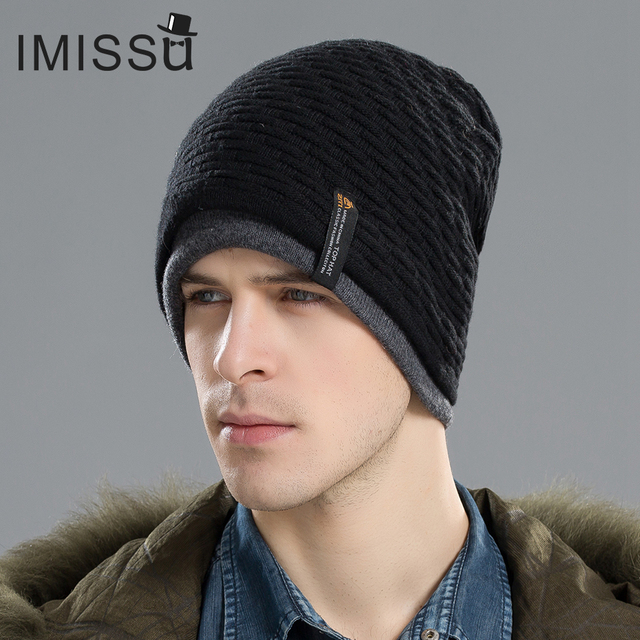 IMISSU Men's Winter Hat Knitted Wool Beanie Skullies Fashion Casual Caps Solid Colors Ski Gorros Cap Casquette Hats for Men