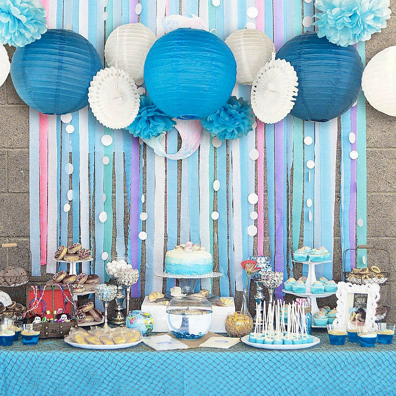 Set Of 13 BluePink Beach Themed Party Under The Sea Decoration Girls Boys Birthday Baby Shower 1st