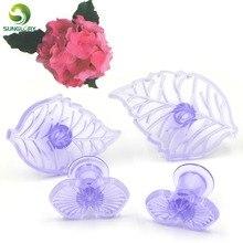 DIY 4PCS/SET Plastic Fondant Gumpaste Hydrangea And Leaf Baking Cookie Cutter Cake Mold Flower Decorating Tools For Cakes