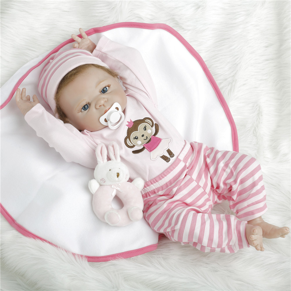 SanyDoll 22 inch 57 cm Silicone reborn dolls, lifelike doll reborn Lovely doll birthday gift holiday gift