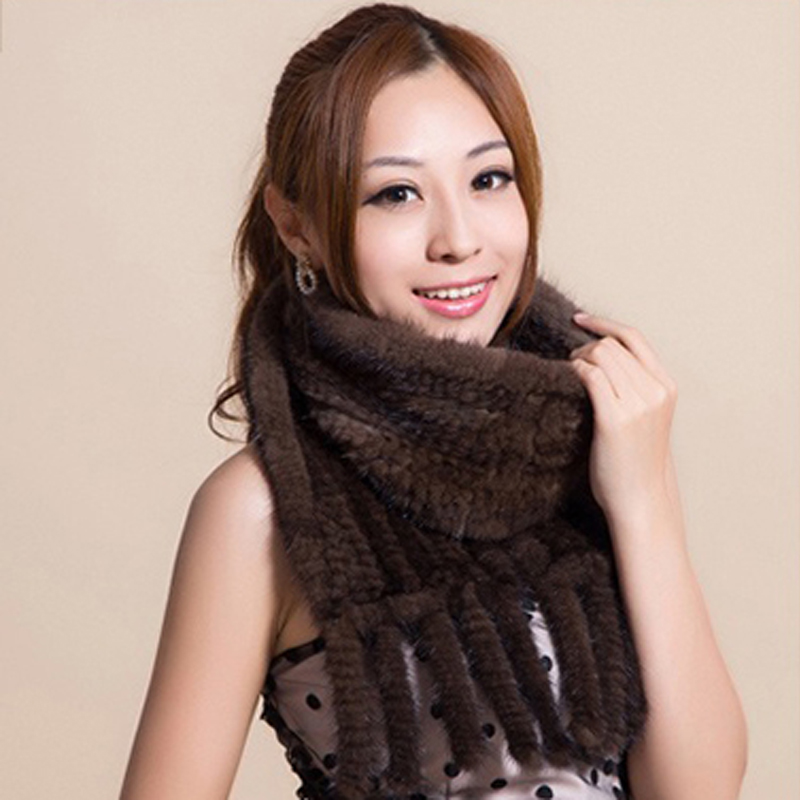 CDS112 Hot sale Real Mink Fur Scarf Women Knitted Natural Mink Fur Scarves Black and Brown color scarf available