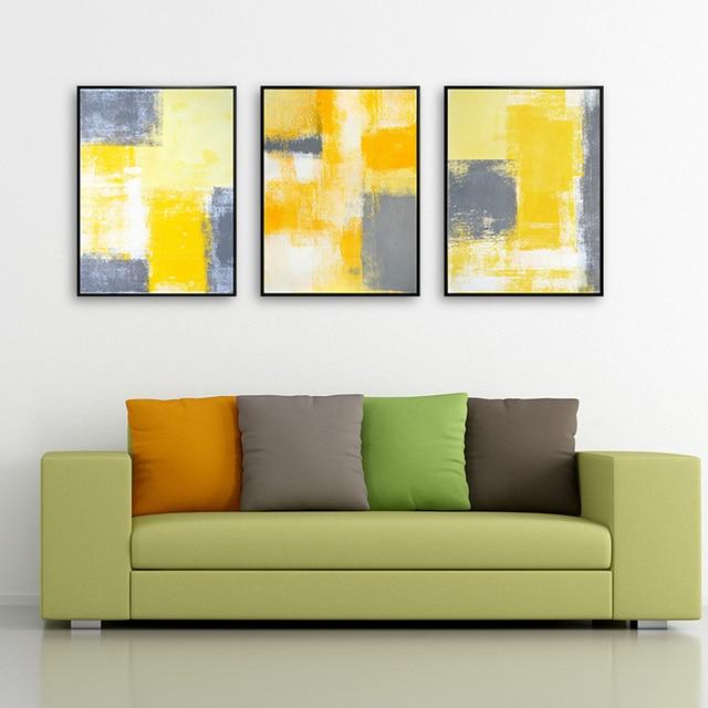 Komposisi Haochu Modern Gambar Seni Abstrak Blok Warna Desain Kanvas Lukisan Untuk Ruang Tamu Latar Belakang