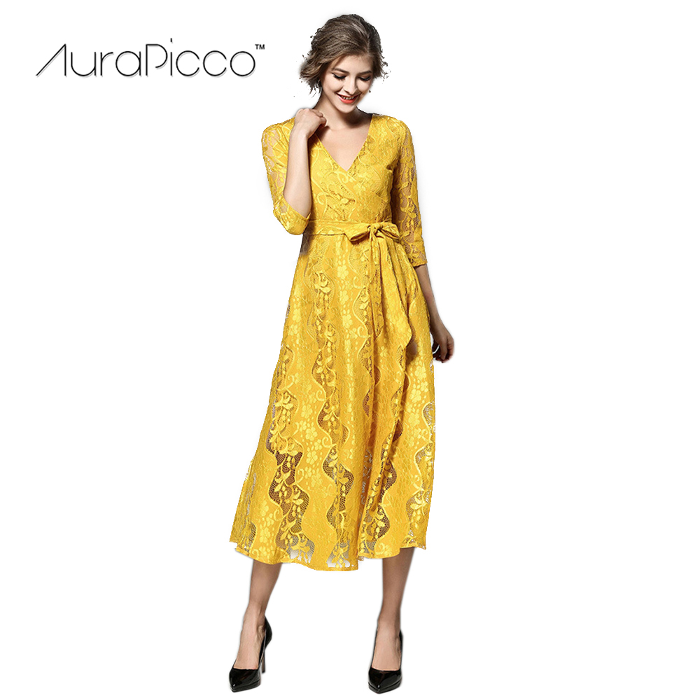 Womens Lace Floral Crochet Yellow Long Dress Elegant Three Quarter V Neck Bow Sashes Cocktail Party Dresses 2018 New AuraPicco ...
