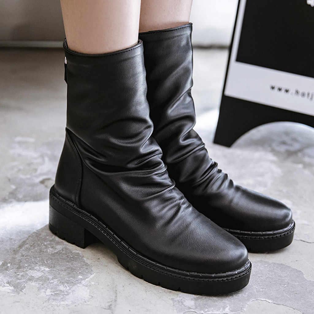 Damskie buty PU skórzane botki środkowa rura Med Heel botki jednolity kolor czarny buty utrzymać ciepłe okrągłe głowy Bota Feminina