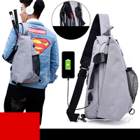 External USB Charge Waterproof Oxford Men Chest Pack Male Crossbody Shoulder Bags Waist Handbag Leisure Travel