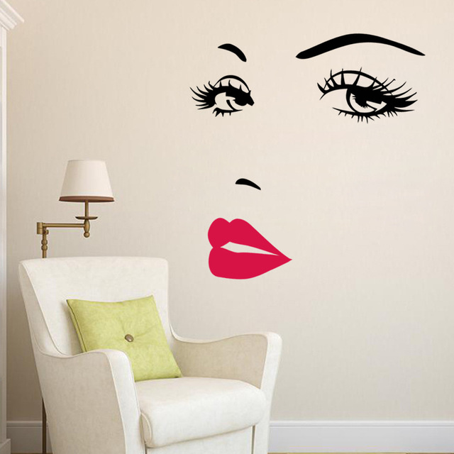 Audrey Hepburn Wall Stickers Red Lips Art Mural Home Decor Living Room  Wallpaper Part 53