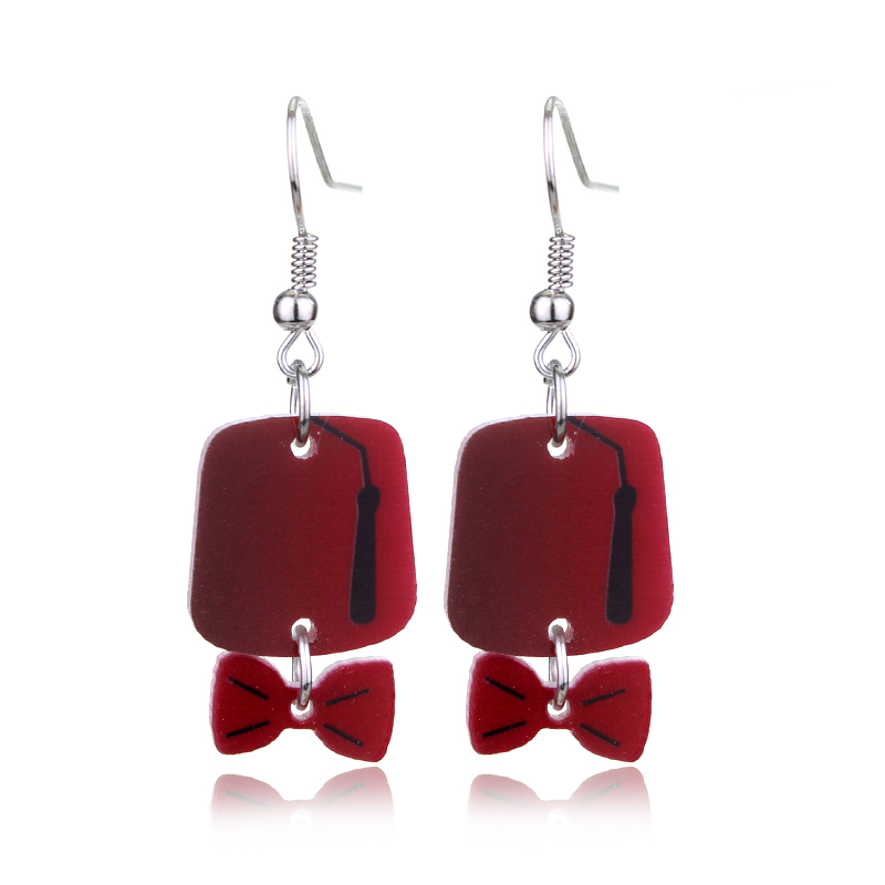 Doctor Who Fez Bow Alloy Metal Earrings Red Bow Tie earrings For Fans
