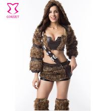 Brown Faux Fur and Leather Tube Top with Mini Skirt Long Sleeves Jacket Hat Furry Costume Cosplay Halloween Costumes For Women