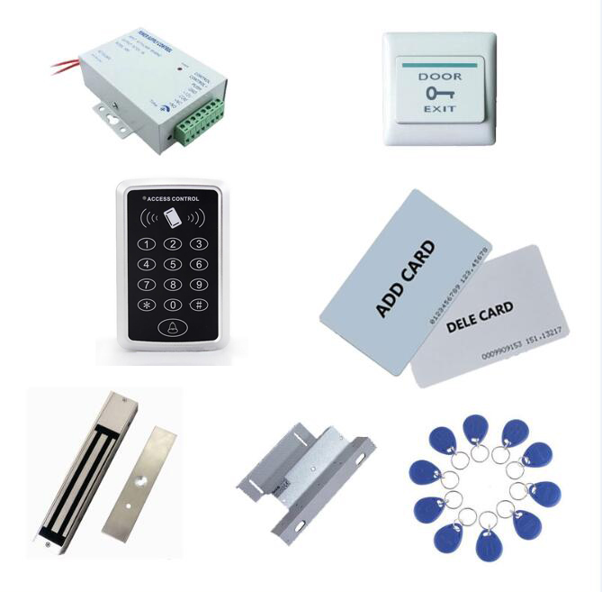 access controller kit ,power+280kg magnetic lock+280kg ZL-bracket + exit button+2 manage card,10 keyfob ID tags,sn:set-8 admin manage