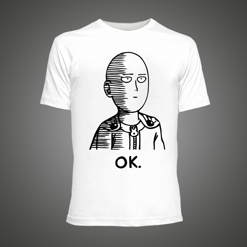 2016 mens t shirts Cool One Punch Man Anime ONE Oppai T shirts Ok ...