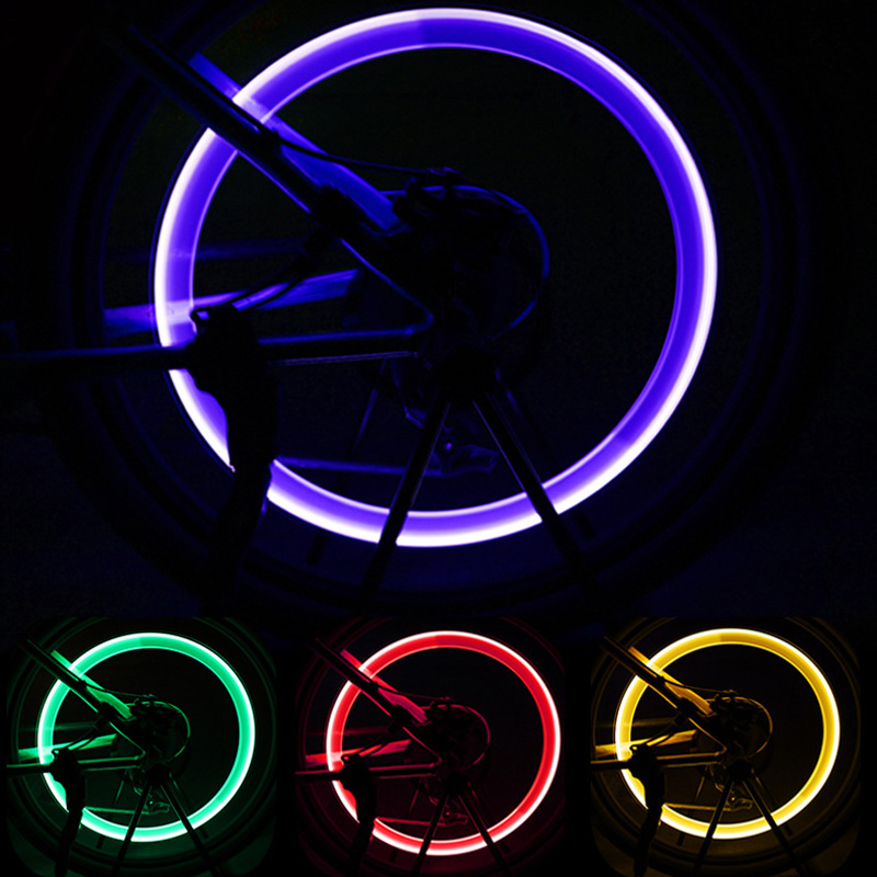 1pcs Bicycle Wheel Tire Valve Caps Lights LED Cycling Spokes Lantern Bike Lamp Bicycle Accessories Color Blue Green Pink Yellow