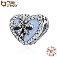 BAMOER Authentic 100 925 Sterling Silver Faith Cross Sweet Bowknot Heart Shape Beads Fit Women Charm