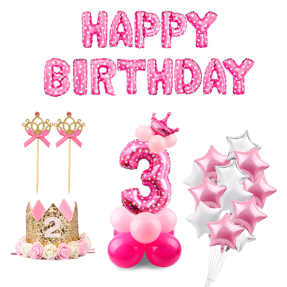 QIFU 3rd Birthday 3 Years Old Blue Boy Number Balloons Foil Helium Decoration Party Supplies Pink Girl In Ballons Accessories From