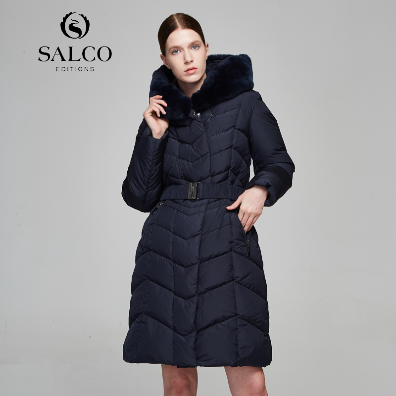 SALCO Free shipping The latest women's winter thermal coat of the beaver rabbit fur collar and long coat the flying beaver brothers and the hot air baboons