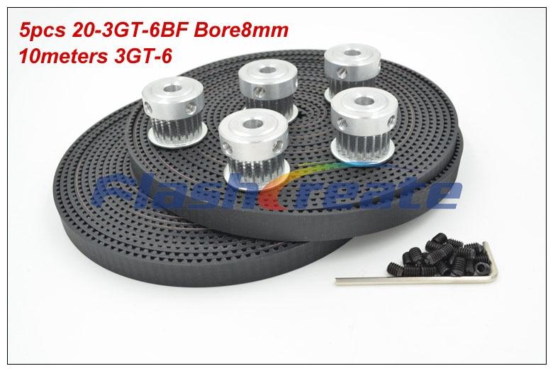 5pcs 20 Teeth 3GT Synchronous Pulley Bore 5/6.35/8mm + 10meters 3GT Rubber Belt Width 6mm 20Teeth 20T GT3 Timing Belt Pulley