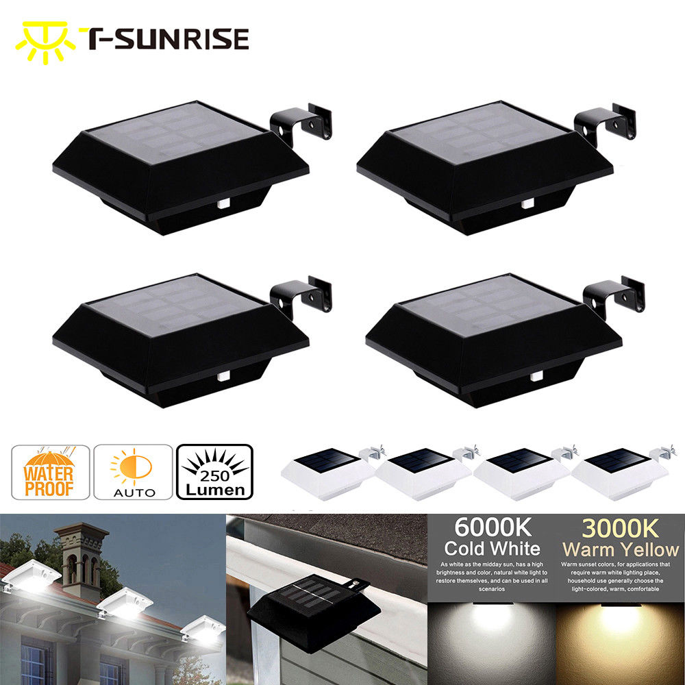 T-SUN T-SUNRISE 4PCS PACK Solar Power Wall Light Sensor 6 LED/12 LED Gutter Lights Outdoor Roof Fence Garden fghgf 2018 light sensor 6 led wall light outdoor garden fence ip55 waterproof lamp automatically light gutter fence warm white