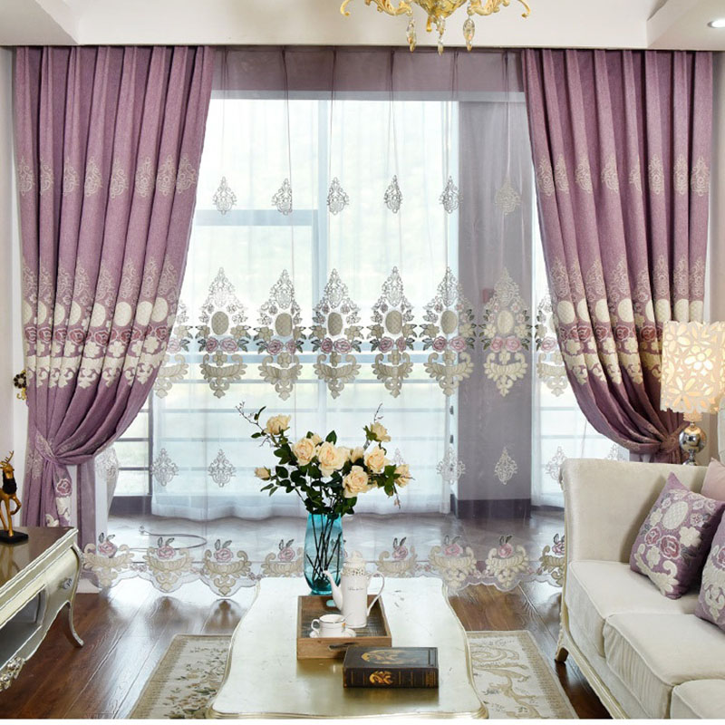 European Luxury Purple Embroidery Blackout Curtain European Tulle Curtains Bedroom Living Room Bay Window Home Decor T144#4
