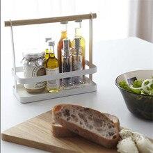 Minimalist Home Wooden Handle White Storage Basket Kitchen Seasoning Bottle Finishing
