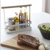 Minimalist Home Wooden Handle White Storage Basket Kitchen Seasoning Bottle Finishing Basket
